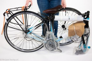 Bicycle after removal from box, still contains packing material.