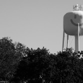 A water tower with a painted smiley face rises above the trees.