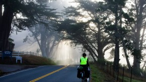 Pam riding Pacific Coast Highway early in the morning with some light fog.