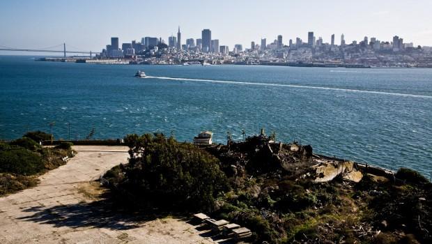 Downdown San Francisco skyline as seen from Alcatraz Island