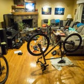 A peak into our house right before we go on a tour. Clothes, bikes, and bags strewn through our living room