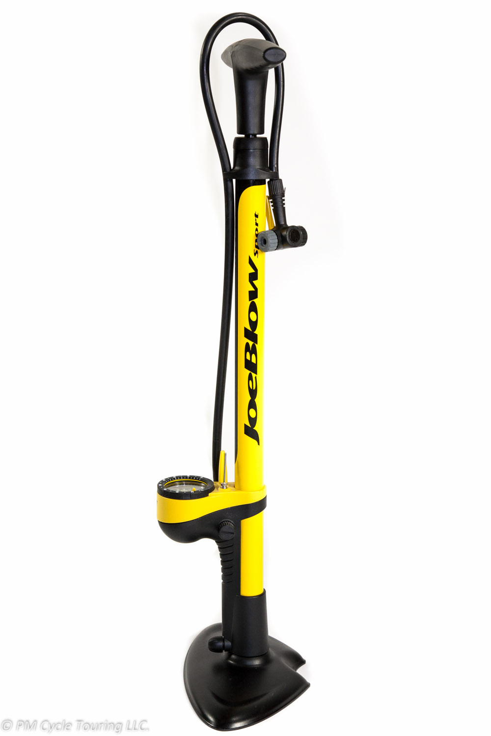 Yellow floor tire pump