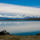 Southern Alps mountains reflected in Lake Pukaki