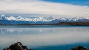 Southern Alps mountains reflected in Lake Pukaki