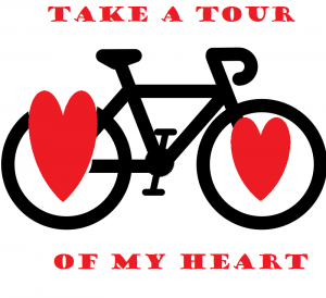 a bicycle with hearts for panniers